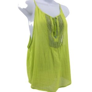 Hollister Lime Green Tank Tie Front Lace Panel